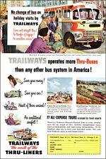 1951 vintage travel bus line Ad Trailways Thru-Liner Buses 041519