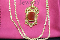 """Victorian Carnelian Agate Goldplated Pendant 10K Solid Gold Women's Necklace 18"""""""