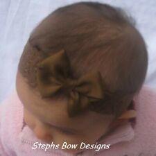 Milk Chocolate Brown Dainty Hair Bow headband fits Preemie Newborn Toddler Fall