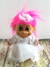 Vintage 5� Troll Doll by Russ - Pink-haired Bride Troll - White Wedding Dress