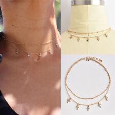 Fashion Vintage Choker Necklace Cross Crystal Chain Pendant Gold Women Jewelry