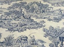 Cotton Fabric, Blue Toile de Jouy Printed Design, Extra Wide Fabric,  Per Meter