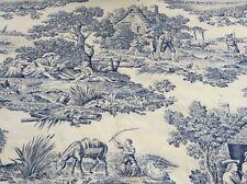 Oilcloth Fabric, PVC Coated, Toile de Jouy Design, Per Meter, Matt Coated