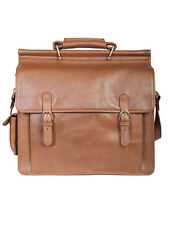 Scully Leather H293 Hidesign Tan Glazed Calfskin Dowel Top Briefcase