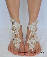 Ivory Bridal Lace Barefoot Sandals Beach Wedding Summer Floral Pattern Sandles