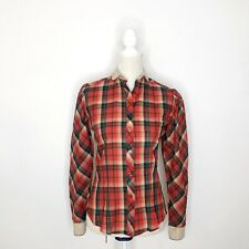 Vintage Red Plaid Button Down Long Sleeve Top Size Small