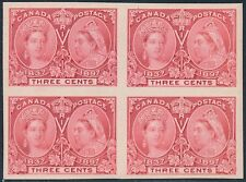 CANADA #53P4 PLATE PROOF ON CARD BLK/4 SUPERB GEM 3¢ JUBILEE BS6501