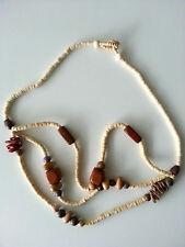 Modeschmuck Damenschmuck Holz 3fach braun bunt 64cm lang Halskette Kette #31