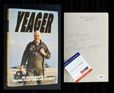 "*PSA/DNA* - CHUCK YEAGER SIGNED - ""YEAGER"" - (Bell X-1, Sound Barrier)! (4)"