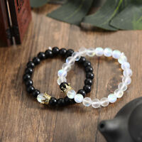 Couples Distance Bracelets Moonstone Stone Bead Crown Men Women Bracelets Gift