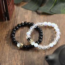 Couples Distance Bracelets Moonstone Stone Bead Crown Men Women Bracelets Gift