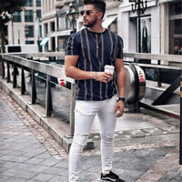 Men Summer Beach T-Shirts Casual Striped Blouse Short O-neck Loose Top Plus Size