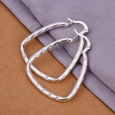 Womens Hook Silver Ear Stud Twisted Earrings Fashion Jewelry 925 Sterling Silver