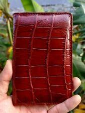 Wallet Passport Brown Crocodile handmade , 100% Genuine Alligator Skin Leather
