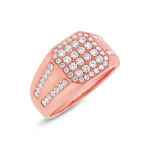 Mens 1.15CT 14K Rose Gold Natural Diamond Mans Right Hand Cocktail Fashion Ring
