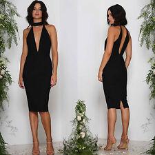 Designer Elle Zeitoune Black Dress low plunge Choker All Sizes Evening Cocktail