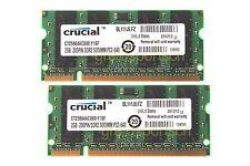 New Crucial 4GB 2X 2GB DDR2 PC2 6400 800mhz 200pin 1.8V Sodimm RAM Laptop Memory