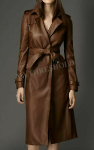 Women Brown Genuine Real Leather Designer Trench Coat