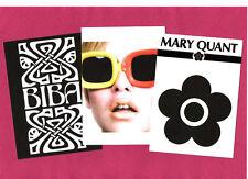 3 POSTERS. BIBA, MARY QUANT, TWIGGY, vintage fashion, Mod, pop art, 60's.