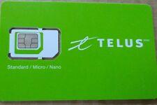 New Telus Sim Card - Universal Kit - Fits: Nano + Micro + Standard