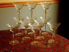 BEAUTIFUL Set of 11 Etched Crystal Depression Glass Saucer Champagne Goblets