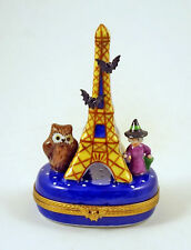 New French Limoges Trinket Box Haunted Halloween Eiffel Tower & Witch Bats & Owl