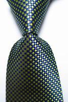 New Classic Checks Blue Black Yellow JACQUARD WOVEN Silk Men's Tie Necktie