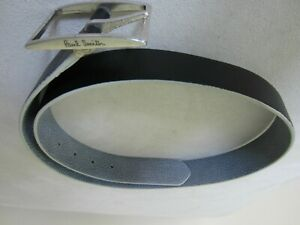Paul Smith Grained Leather Reversible Belt in Blue and Black 32 waist