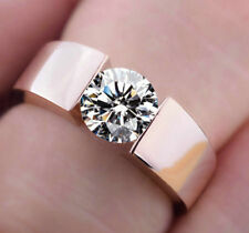Women Wedding Ring Rose Gold Filled Round Cut White Sapphire Ring Size6-10