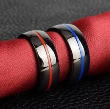 20 Red Line Blue Line Firefighters Titanium steel Fire Alarm Rings Men's Jewerly