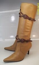 Paqueta Dumond Womens EU36 US6 Tan Leather Brown Strappy Buckle Zip Tall Boots