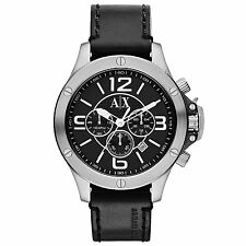 ARMANI EXCHANGE AX1506 Street Black Leather Silver Dial Chrono 48MM BRAND NEW AX