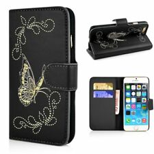 "Apple iPhone 6 6s 4.7"" cartera case Butterfly pattern funda estuche Book Bag negro"