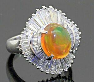 Heavy Platinum amazing 6.0CTW VS diamond/10.4 X 8.3mm opal cluster cocktail ring