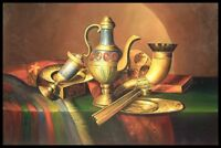 "36""x24"" Oil Painting on Canvas, Still Life with Brass, Genuine Hand Painted"