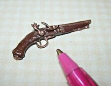 Miniature Cast Metal Hand-Painted Flintlock Pistol: DOLLHOUSE Miniatures 1/12