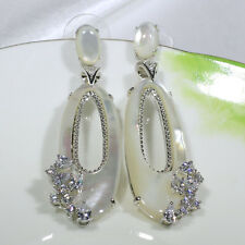 18K White Gold Filled CZ Mother Shell Pearl Fashion Jewelry Dangle Earring E4928