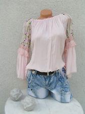 Tunika Italy Bluse Shirt Spitze Stickerei Blumen Carmen 36 bis 44 rose NEU