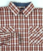 IZOD Long Sleeve Shirt Mens Size Large L Western Burgundy Orange White Plaid