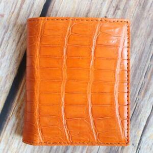 Crocodile Leather Skin Men's bifold wallet DOUBLE SIDE Orange Genuine Alligator