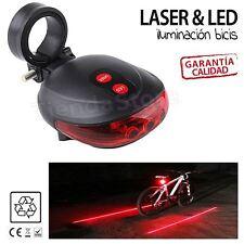 Luz 5 led y laser trasera para bicicleta bici moto delimita distancia