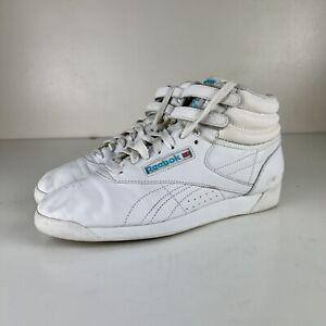 VINTAGE RARE 80's Fashion Reebok Classic HI White/teal Freestyle Women US Size 9