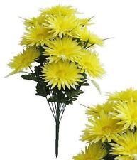 """16-Light Yellow Gerbera Mum 24"""" Tall Bouquet Bridal Party Home Decor Silk Flower"""