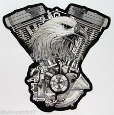 Eagle V-twin Embroidered Iron on Sew on Biker Patch 10 X 10 cm