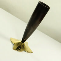 Vase Design Objekt Messing massiv Windrad Blüten Fuß Vintage 50er Jahre