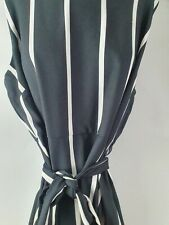 Autograph Black White Stripe Summer Sleeveless Dress Plus Sz 18