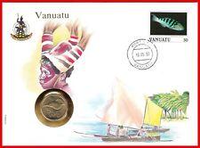 Vanuatu *** 5 Vatu 1990 *** Sea Shell ***  Coin  Cover  ***  UN Stamp  TOP !!!