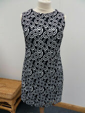 Principles Sleeveless Smart Navy/White Lined Circular Shift Dress Size 16