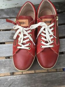 Pikolinos Womens Shoes Sneakers Casual Lace-Up Zip-Up Trainers Leather Red
