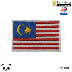 Malaysia National Flag Embroidered Iron On Sew On Patch Badge For Clothes etc